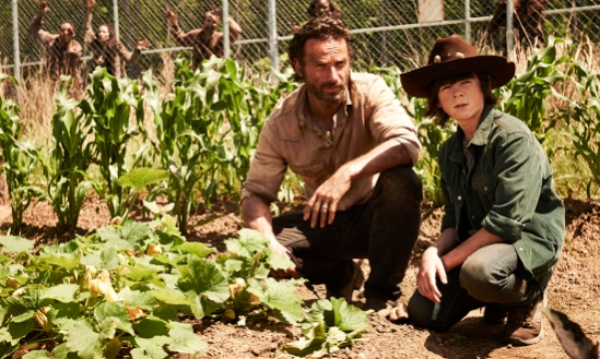 Rick Grimes (Andrew Lincoln) and Carl Grimes (Chandler Riggs) - The Walking Dead - Season 4 _ Gallery - Photo Credit: Frank Ockenfels 3/AMC